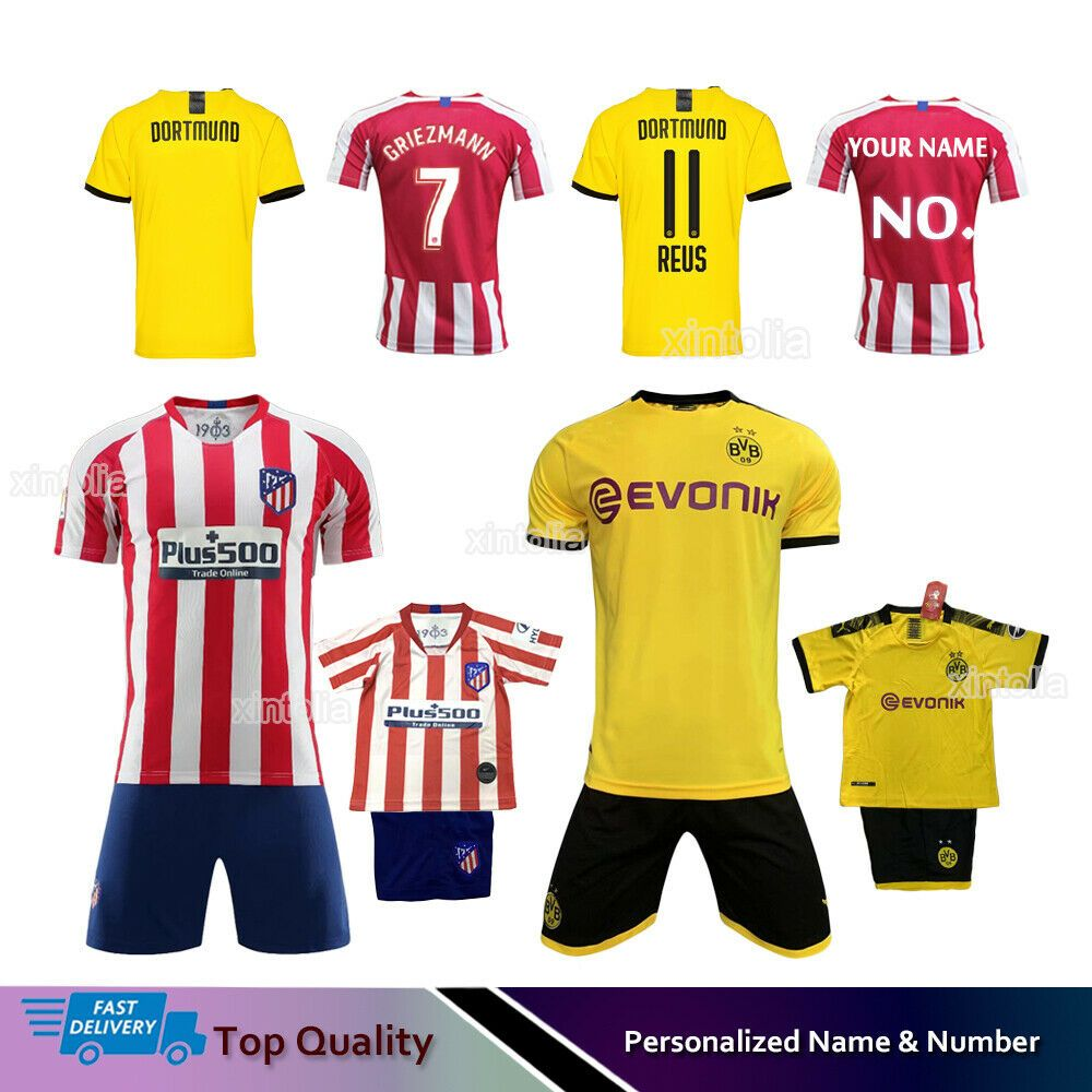 19//20 Kids Boys Girls Football Full Kit Youth Jersey Strips Soccer Sports Outfit