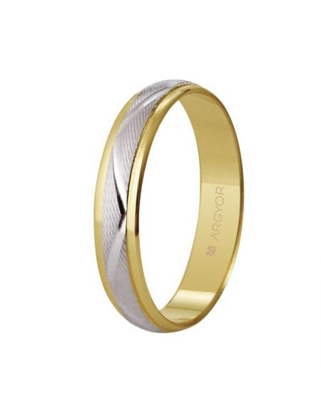 74b336b1023e ALIANZA DE BODA ORO BICOLOR ZIG-ZAG 4MM 9 QUILATES Alianza de boda bicolor  con facetado en zig-zag. Este anillo combina unos brillantes bordes dorados  de ...