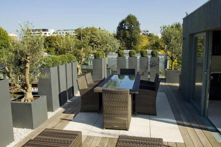 Dachterrasse gestalten 37 Ideen für Pflanzen und Sichtschutz - terrasse gestalten ideen stile