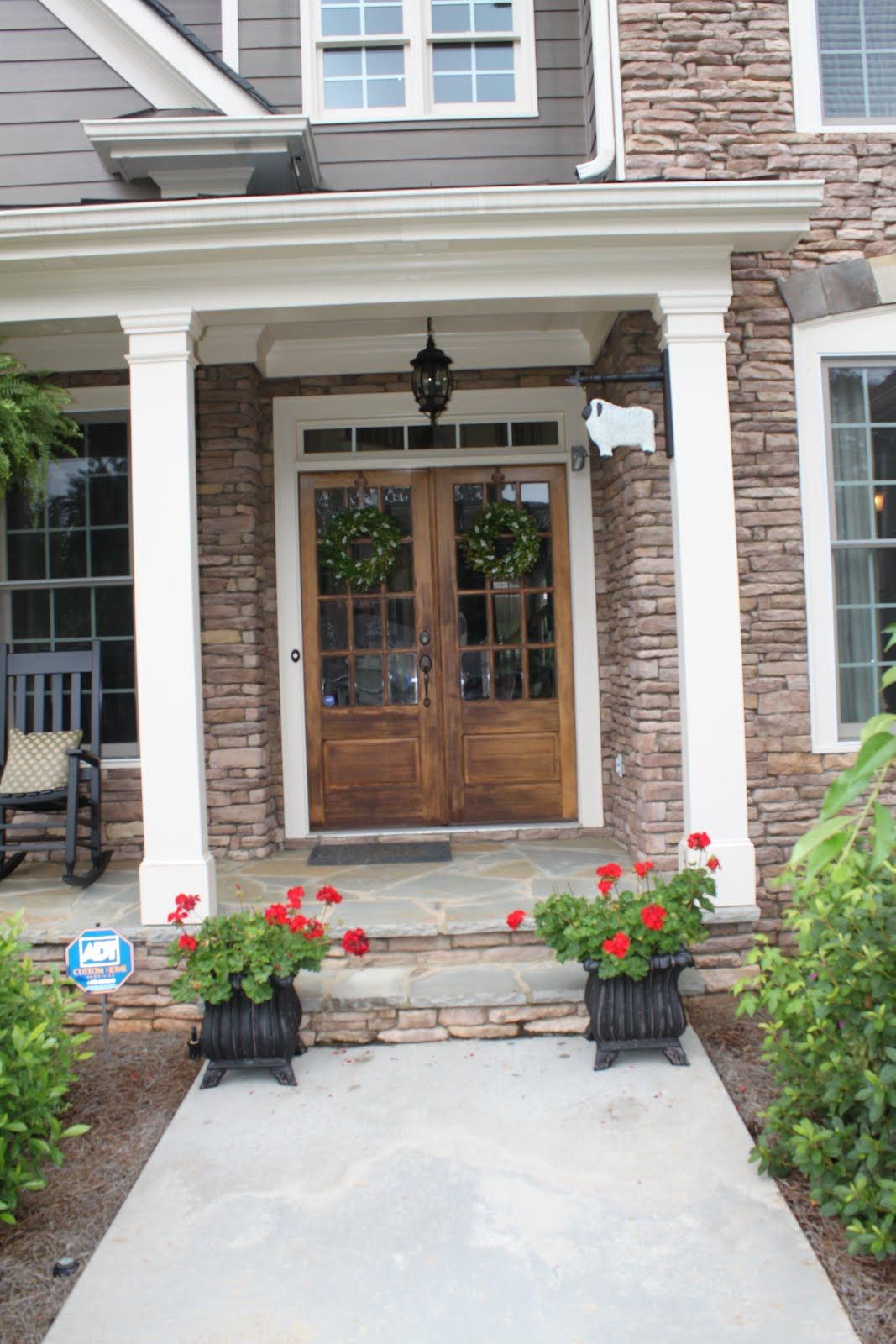 Double Front Doors Hanging Lanterns And Double Front