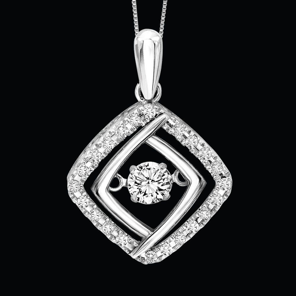 White Gold Diamond Square Rhythm Of Love Pendent