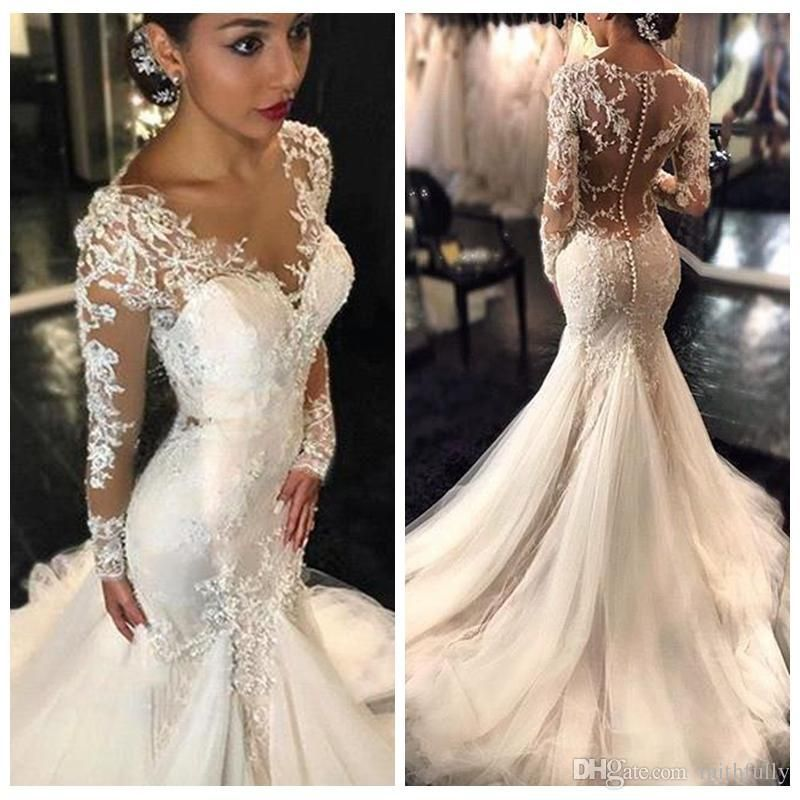 2017 New Gorgeous Lace Mermaid Wedding Dresses Dubai African Arabic Style Pee Long Sleeve Bridal Dress