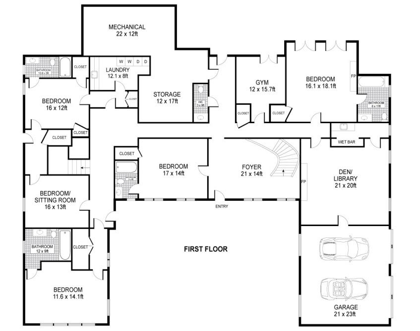 U shaped house plans single level home ideas floor for One level ranch home floor plans