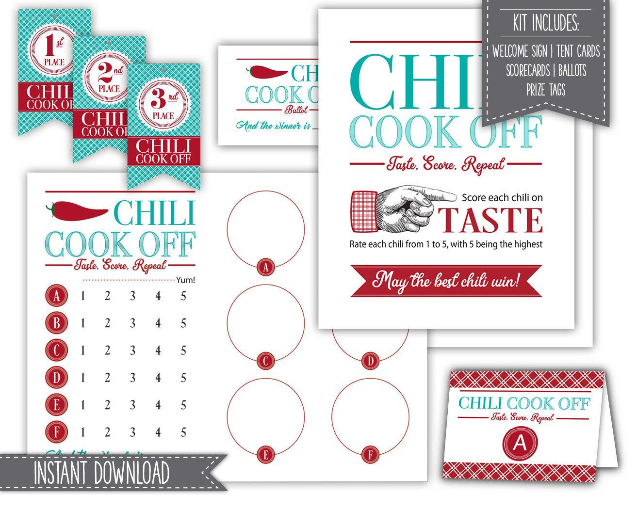 Chili Cook Off Kit Instant Download Printable