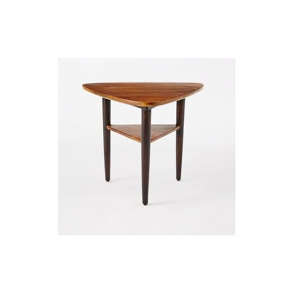 West Elm Lars Mid-Century Tri Side Table ($229) ❤ liked on Polyvore featuring home, furniture, tables, accent tables, west elm side table, mid-century modern furniture, mid century modern end table, brown coffee table and west elm