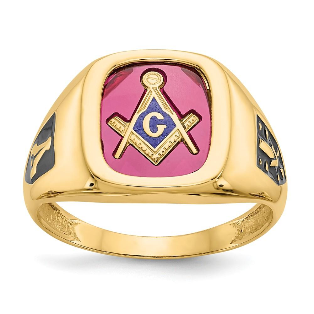 10k Yellow Gold Red Acrylic Mens Masonic Ring With Images