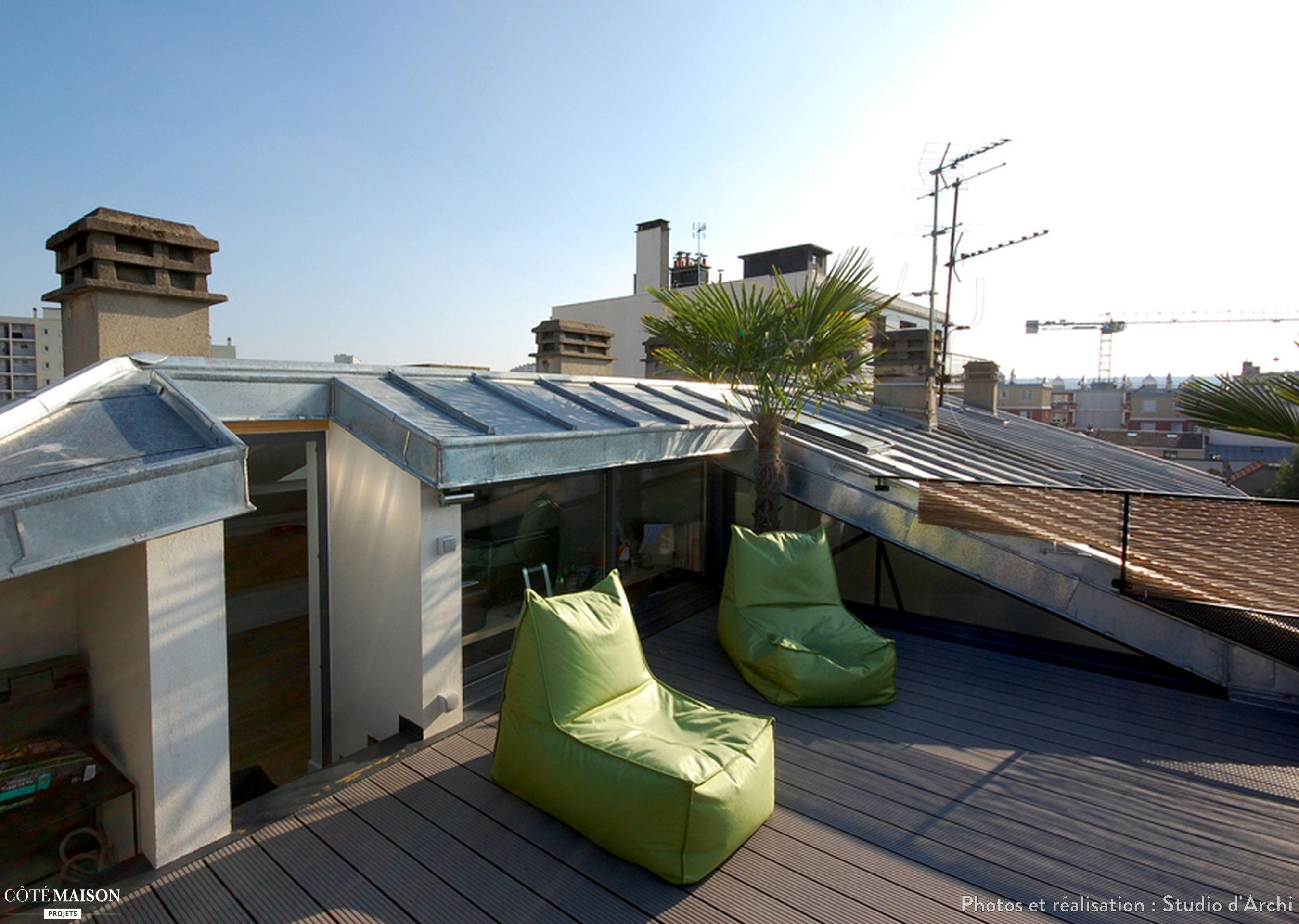 Creer Une Terrasse Tropezienne des combles et une terrasse, studio d'archi - côté maison en