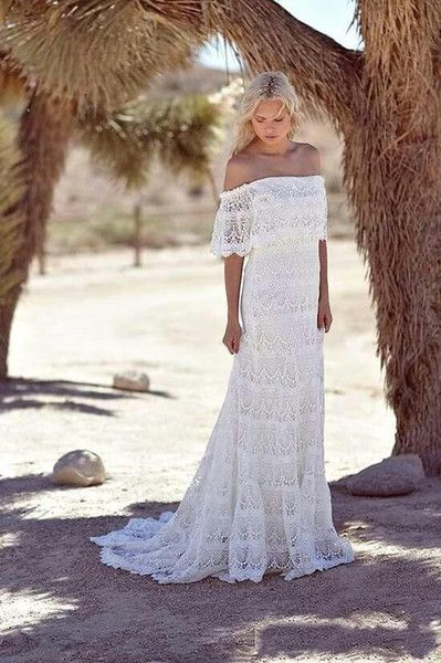 Discount Simple Full Lace Country Boho Wedding Dresses Off The