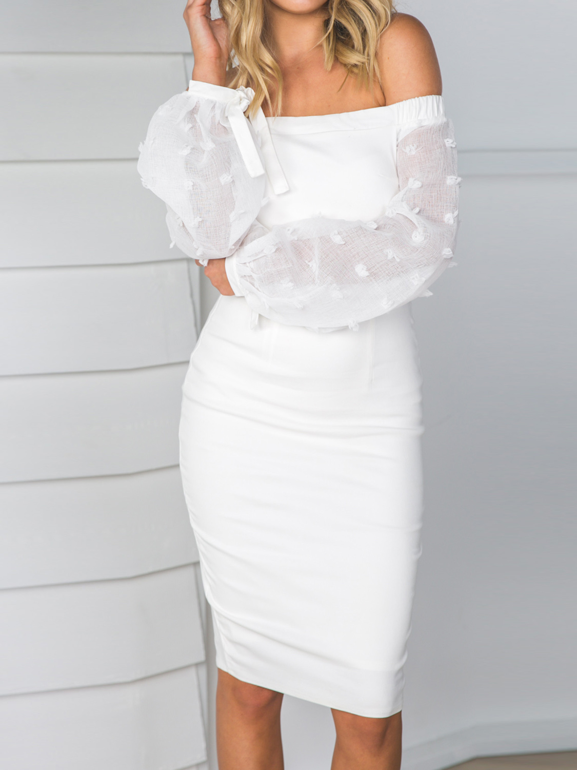 White off shoulder sheer puff sleeve split bodycon dress ii choies