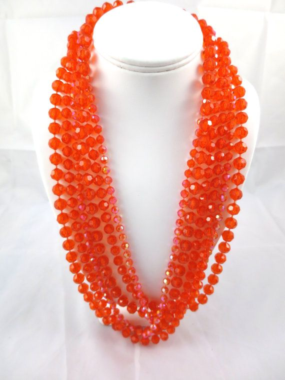 Mid century 1950s 1960s four strand orange yellow Lucite beaded collectible necklace