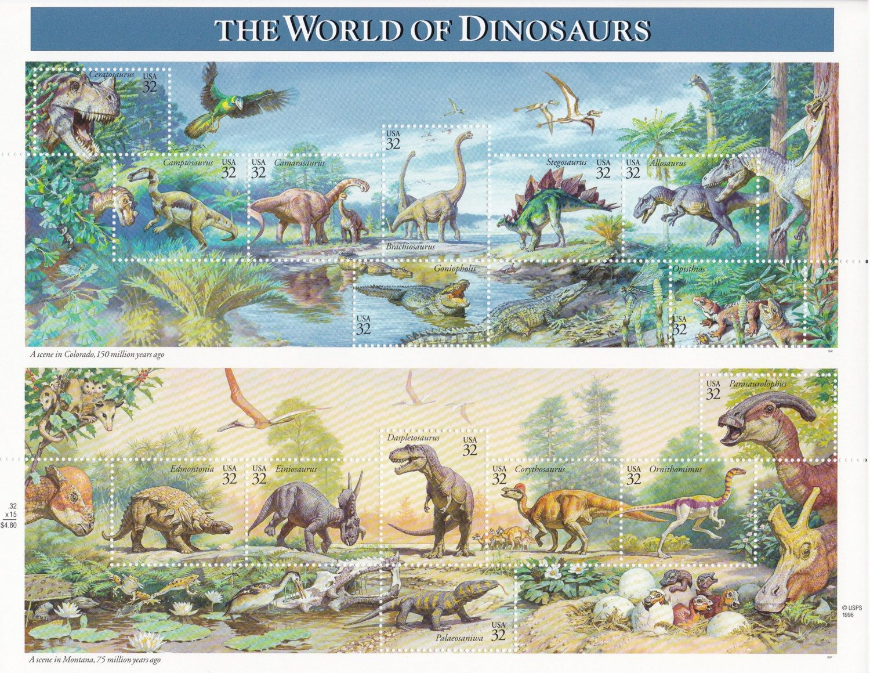 Qty of 15 Dinosaur .32 cent unused vintage postage stamps