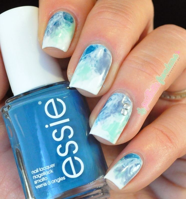 fresh watercolor nail art by nathalie lapaillettefrondeuse Essie ...