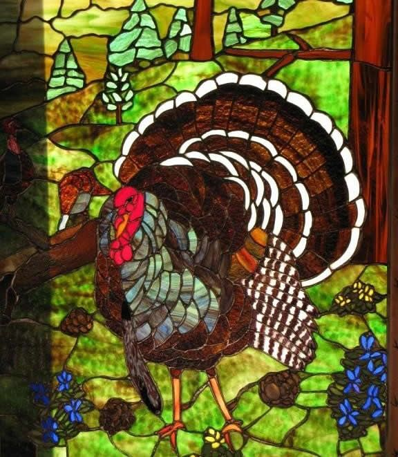 turkey stained glass window by wildlife artist and stained glass master, Bob Cheyne.