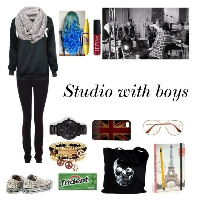 """Studio with boys"" by myllenna-malik ❤ liked on Polyvore featuring Converse, Armani Jeans, Vince Camuto, Cavallini & Co., Friis & Company, Butter London and H&M"