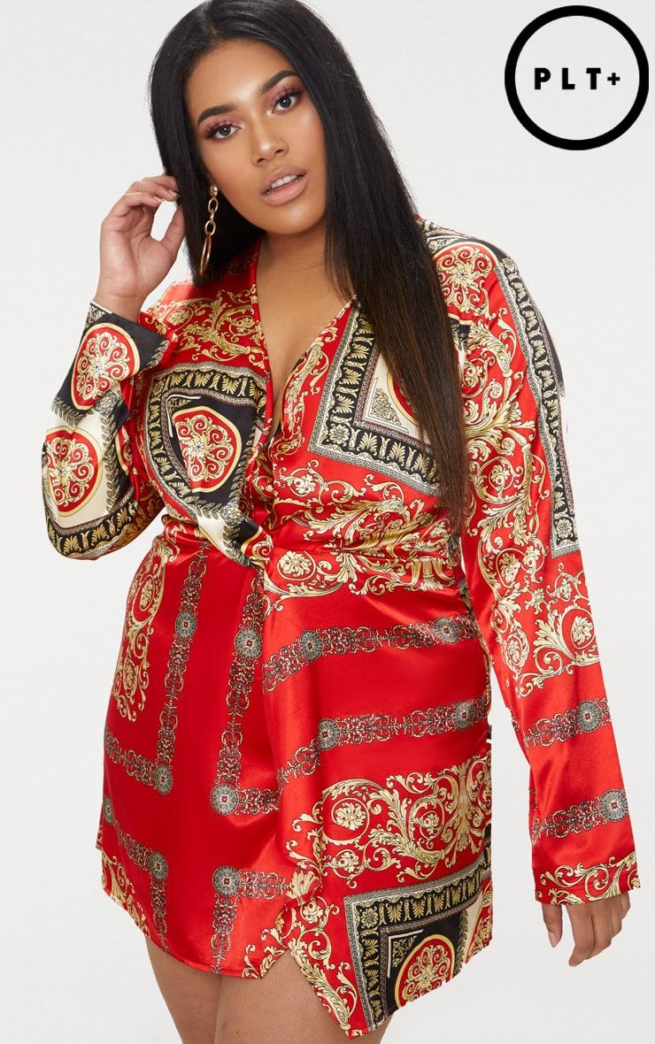 7a02cd08c5689 Plus Red Printed Satin Long Sleeve Wrap Dress | Glam Up | Wrap dress ...