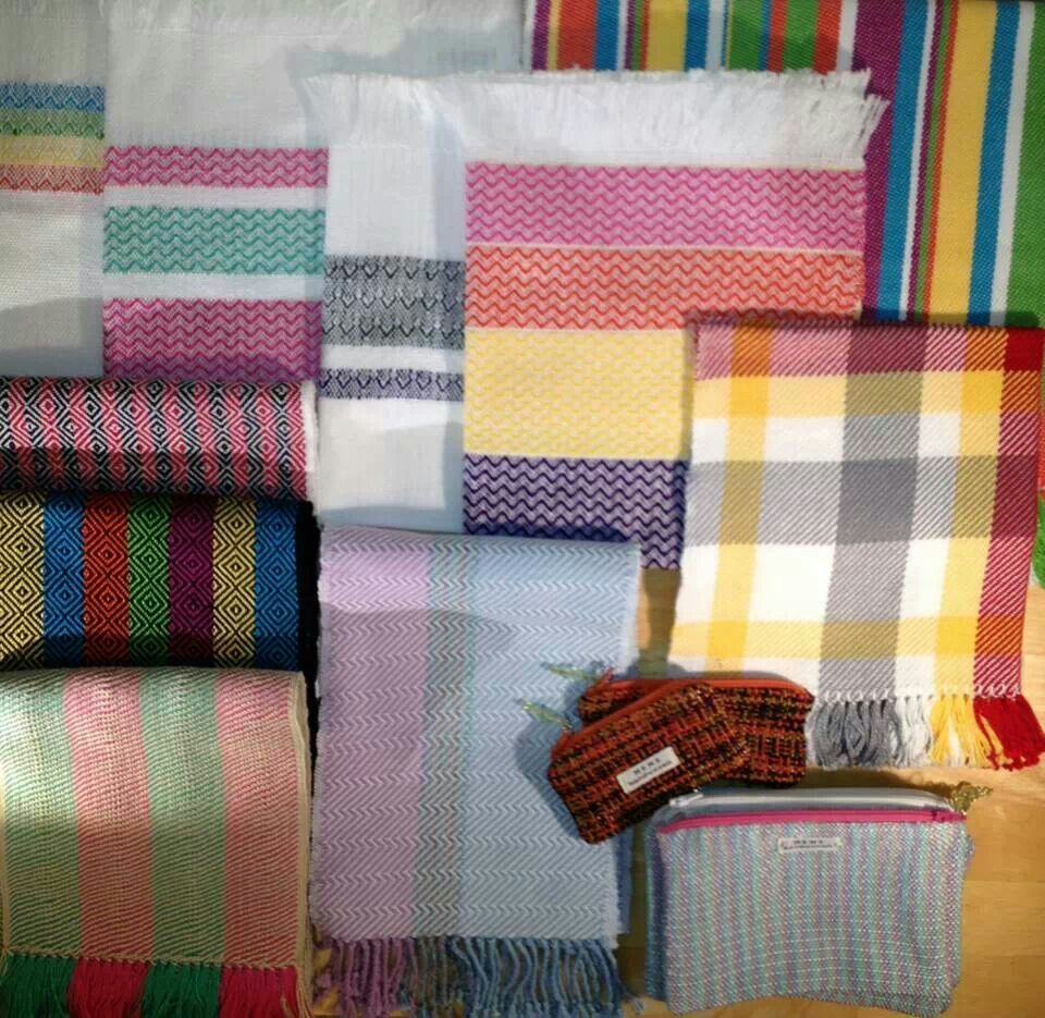 Handwoven scarves, table linens, zippered pouches.