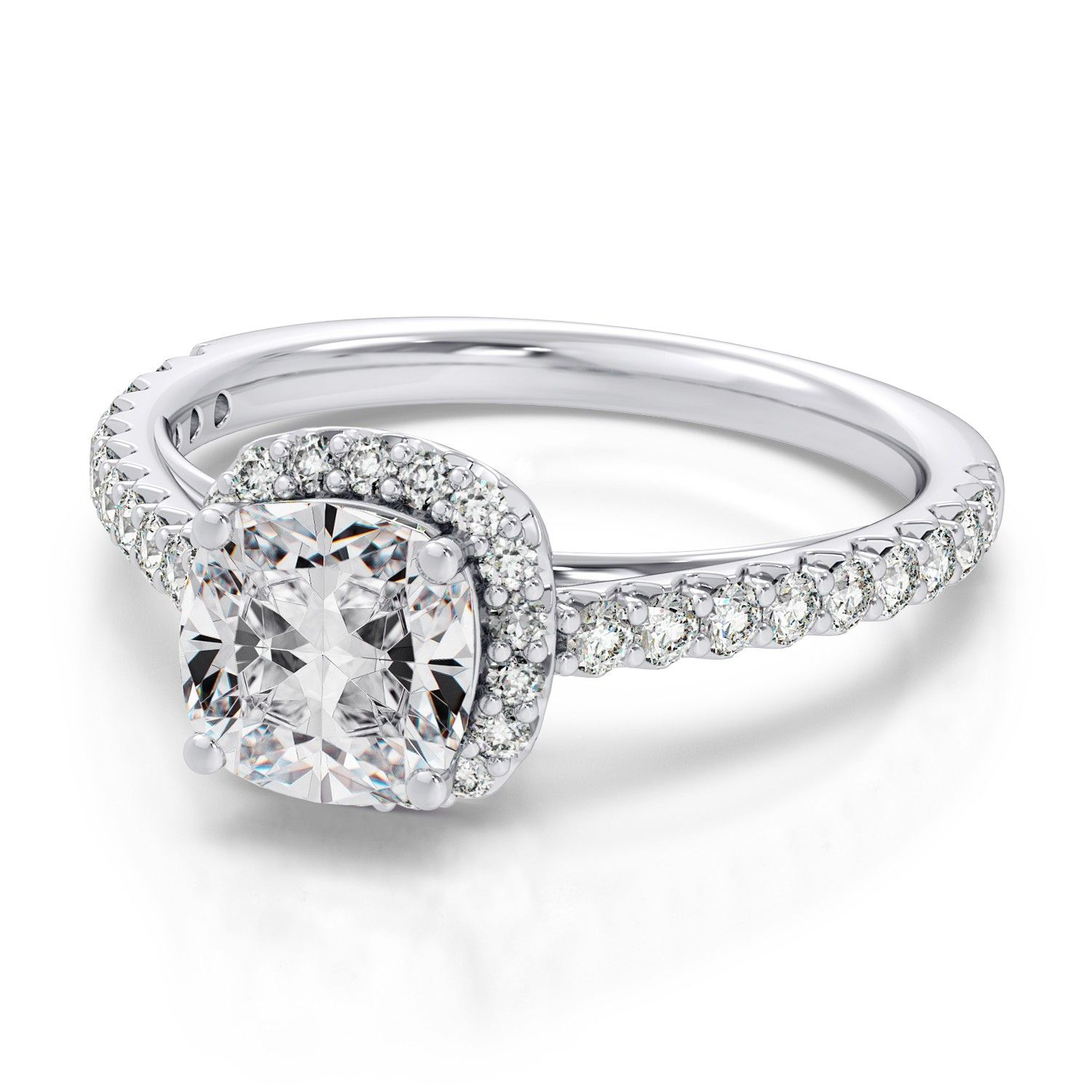 .41ctw Cushion Cut Vintage Halo Engagement Diamond Ring in