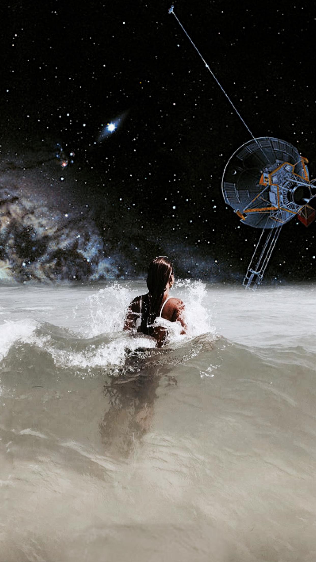 Lockscreen Wallpaper Collage Space Ocean Stormi
