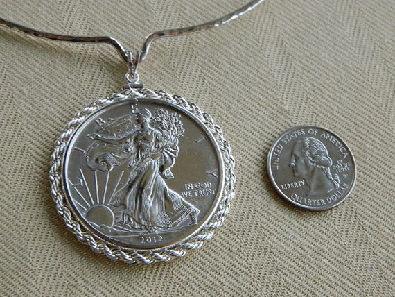 SUPER Silver Drop w Matching Sterling Rope by CustomCoinJewelry, $139.00