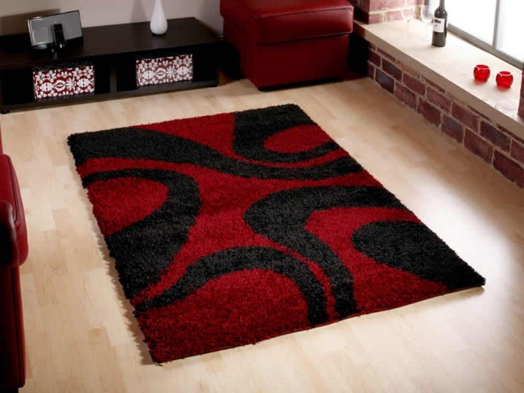 Contemporary Family Room with Red Black Geometric Flokati Rugs, and Black  Wooden Horizontal Storage Unit
