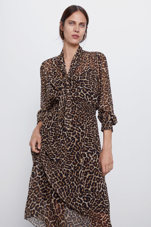 Animal Print Dress New In Woman Zara United States Animal Print Dresses Red Leopard Print Dress Printed Dresses Fashion [ 2880 x 1920 Pixel ]