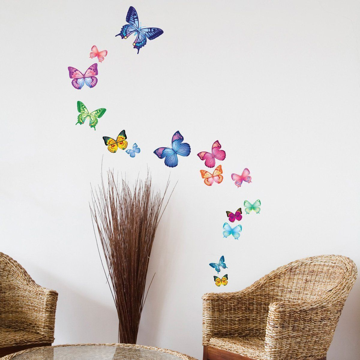 decowall dw 1302ac 15 vibrant papillons stickers muraux tatouages muraux transferts mur. Black Bedroom Furniture Sets. Home Design Ideas