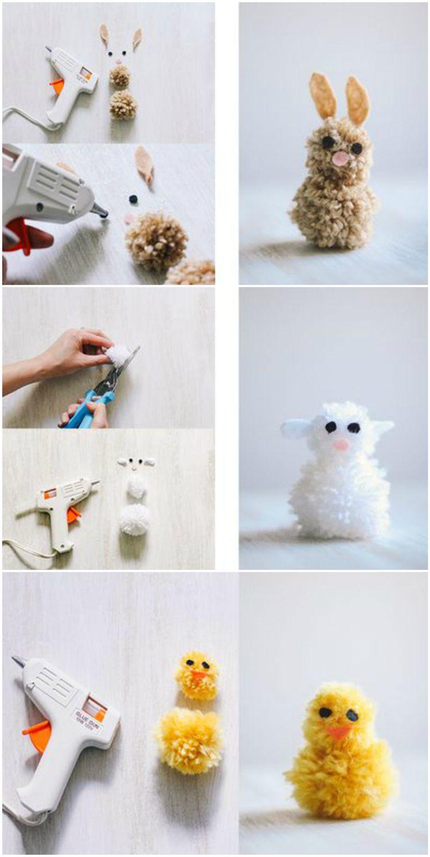 Basteln Mit Wolle Zu Ostern Hase Schaf Vogel Pompoms