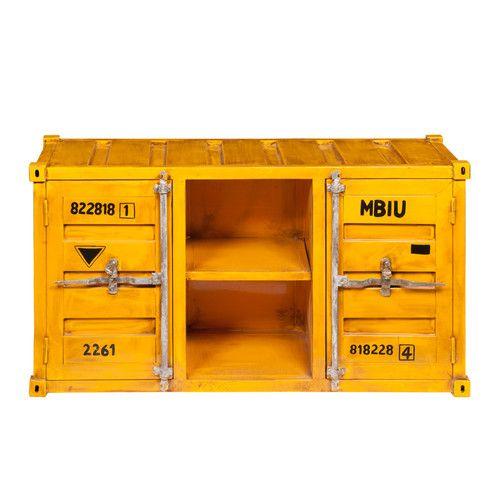 Meuble TV container en métal jaune L 129 cm Metal containers, Tv