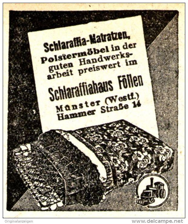 Original-Werbung/ Anzeige 1938 - SCHLARAFFIA MATRATZEN - MÜNSTER - ca. 45 x 50…