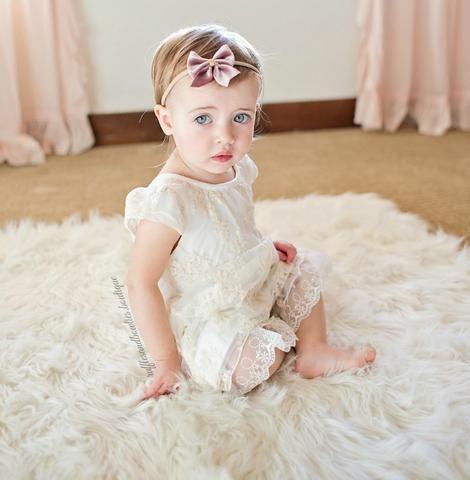 cebde5cf123 Baby Girls Sweet Hazel Vintage Ivory Lace Romper Jumper Our Sweet Hazel  Romper features an