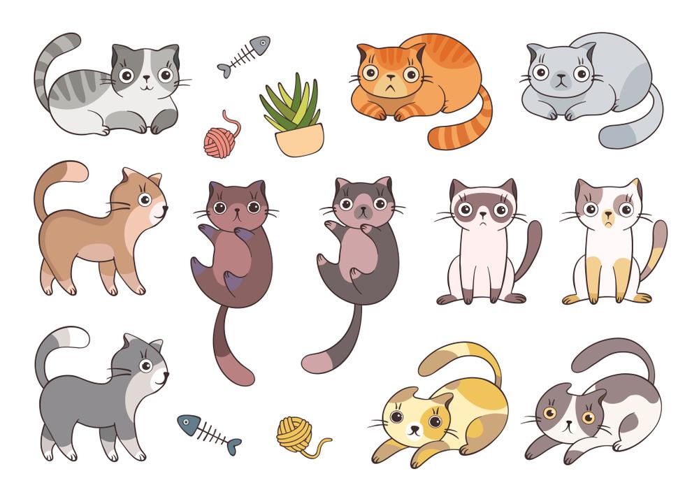 Set Cute Cartoon Cats Different Colored Set Cute Cartoon Cats Different