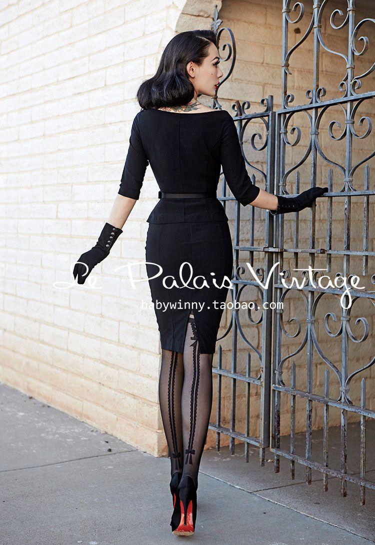 501ff3030 Le Palais Vintage Sexy Elegant Vintage Double Striped Bow Jacquard Tights