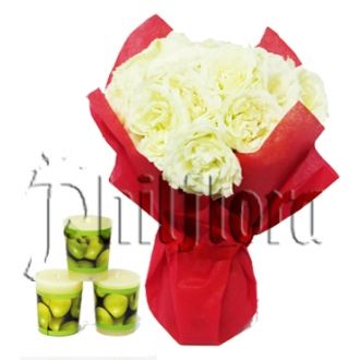Beautiful bouquet of one dozen white roses in a glass vase with 3pcs Green Scented Candles for Solemnity. Send this Candle with bouquet to the one who passed away.