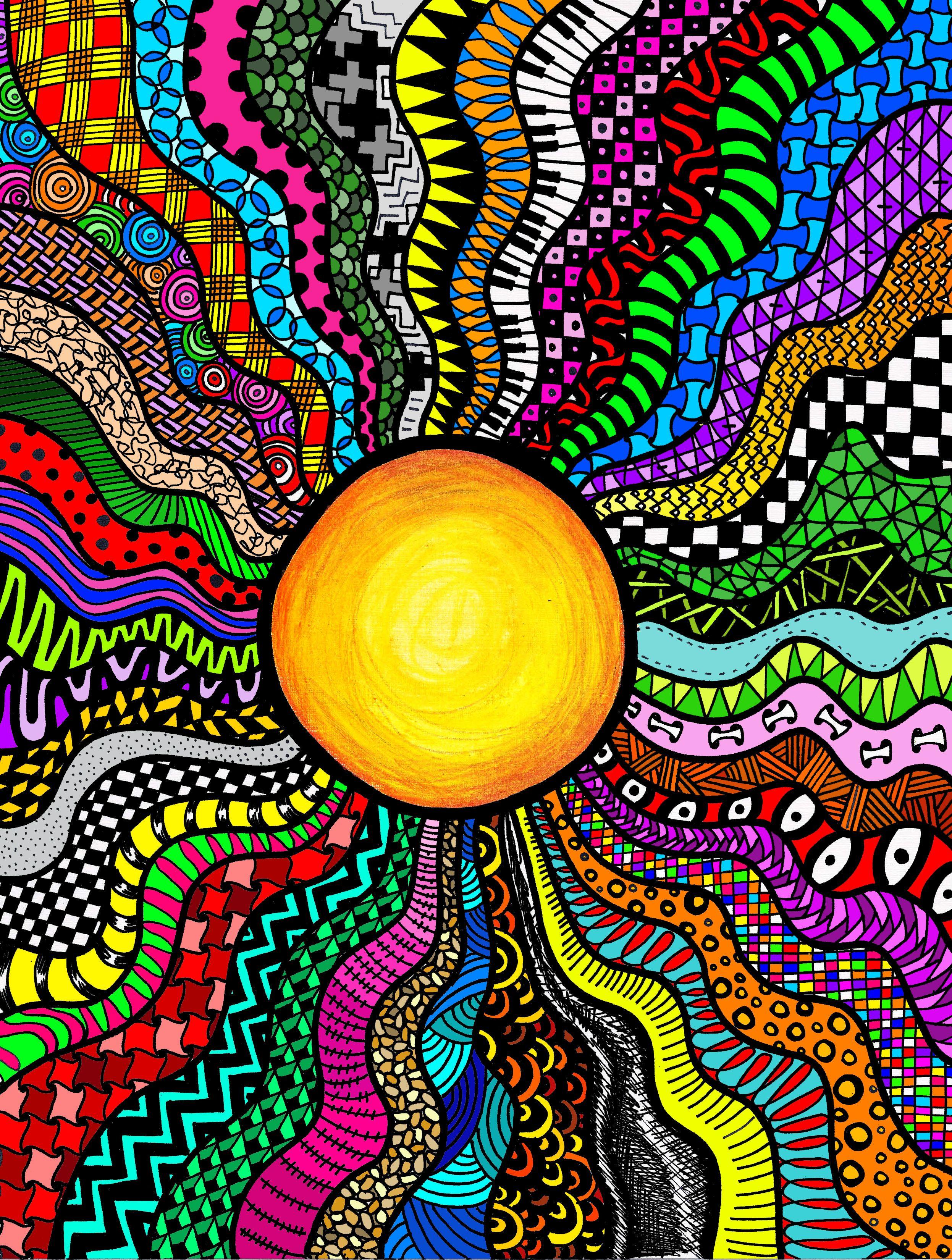 Zen doodle colour - Colored Suntangle By Laura Bern Rdez Suntangle Zentangle Doodle Zendoodle