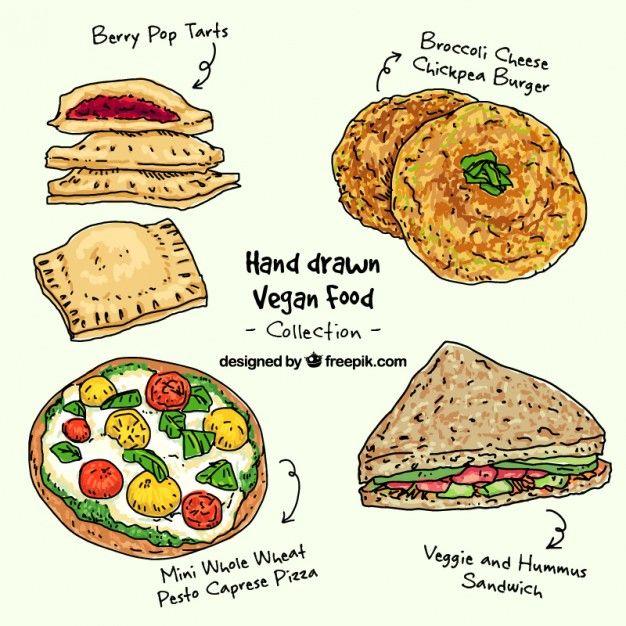 Hand Drawn Vegan Food Pack Vegan Recipes Food Pack Food