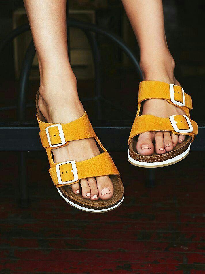 Mustard birkenstocks | Footbed sandals