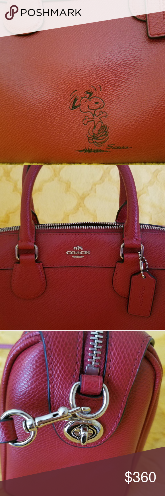 82ba0299208ba Coach Peanuts Snoopy mini Bennett Satchel Never used Authentic Coach red  mini satchel. I
