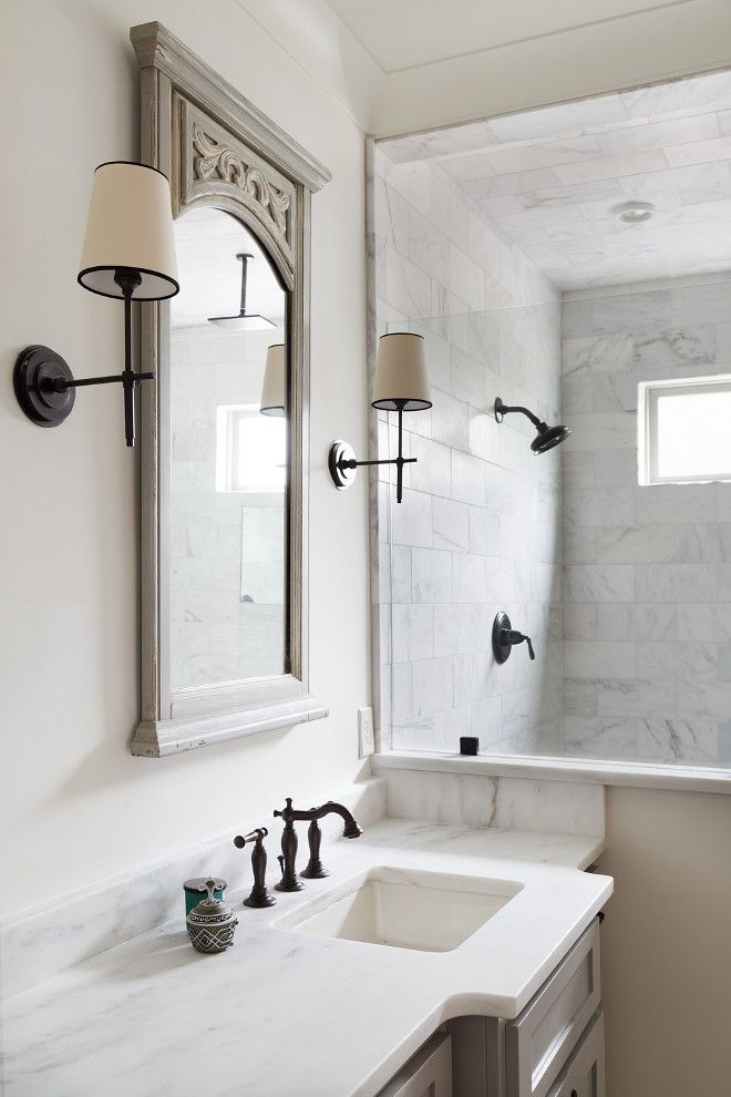 Bathroom Bathroom with neutral paint color, white marble countertop
