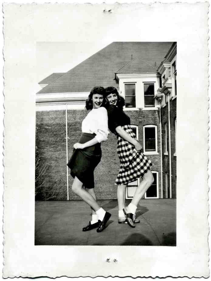 vintage bw snapshot women girls found photo street style