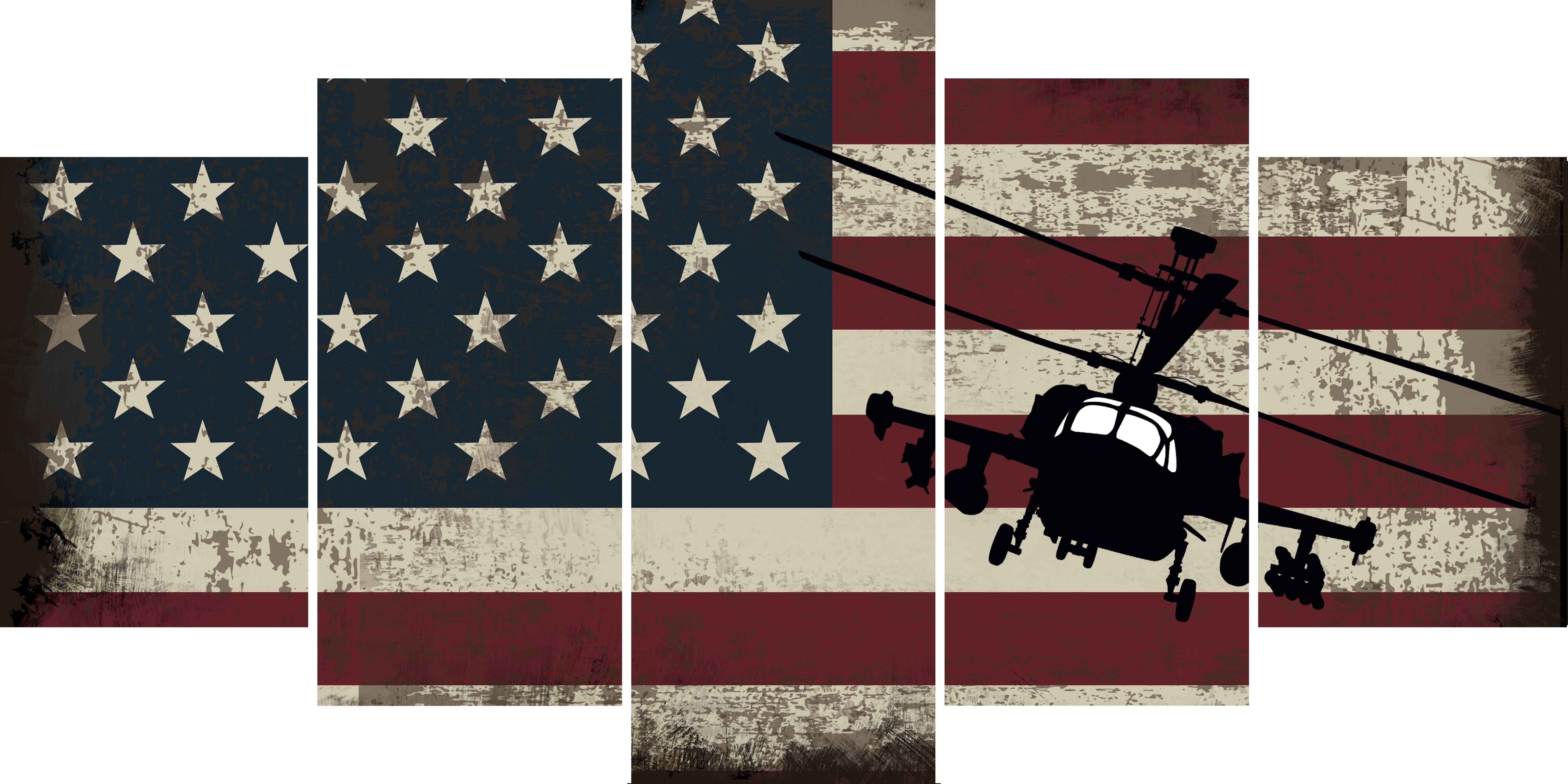 Military Helicopter With American Flag Multi Panel Canvas Wall Art