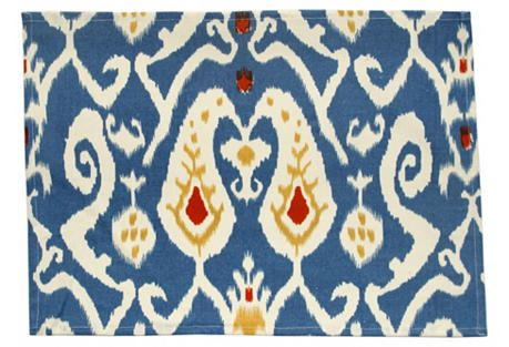 S/4 Ikat Place Mats, Blue/Red. A durable cotton place mat is an essential for the table, but the essential becomes something else entirely when rendered in an ultra-lush ikat design. Divine Designs is rightly famous for bringing luscious colors and vibrant patterns to the home. This collection of durable tablecloths, napkins, place mats, and napkin rings will help you set a chic yet timeless table, whether it's a casual meal for two or a full-scale dinner party.. Price: $29.00