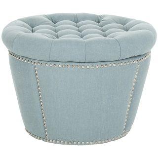 Safavieh Florence Tufted Round Storage Ottoman Blue Fabric