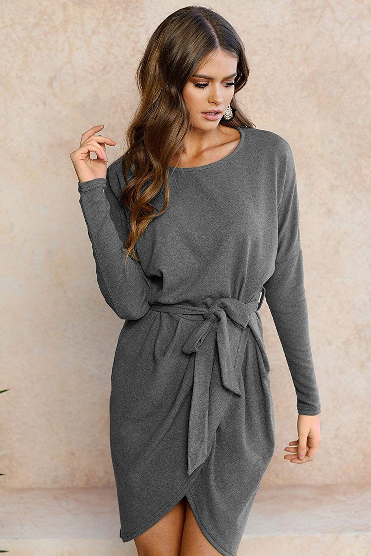 damen rundhals kleid mit gürtel | langarm minikleid, kleid