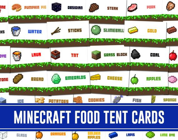 60 Printable Minecraft Inspired Food Tent Card Labels DIY ...