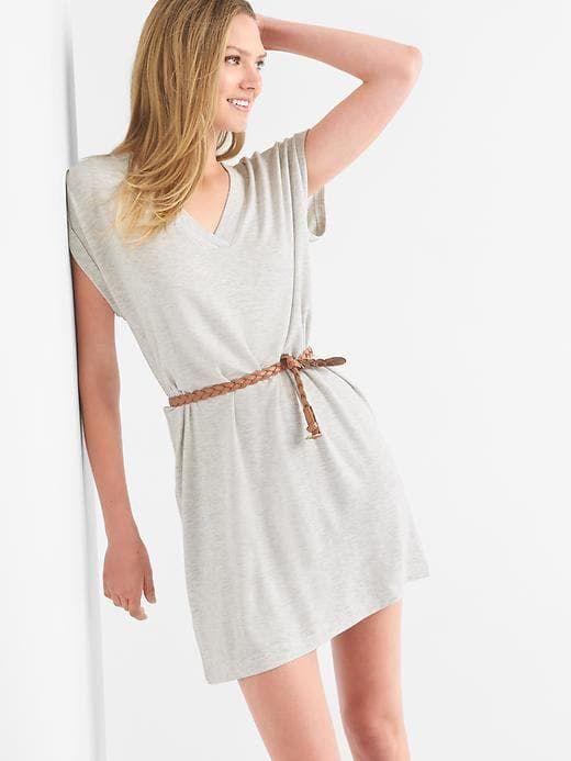 Gap Womens French Terry V-Neck Dress Heather Grey  e7f526fd9
