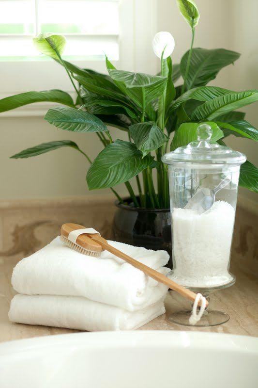 Relaxing vignette in bathroom epsom salts in a pretty jar for Epsom salt in french