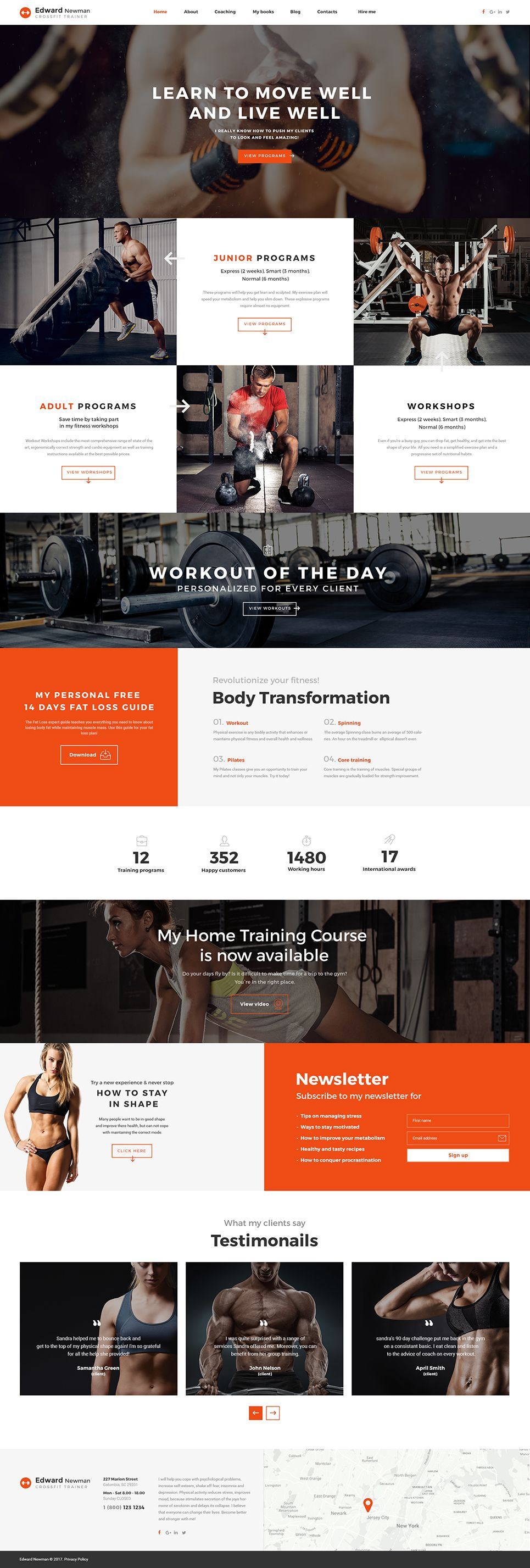Edward Newman Crossfit Trainer Multipage Website Template Personal Trainer Website Personal Trainer Fitness Web