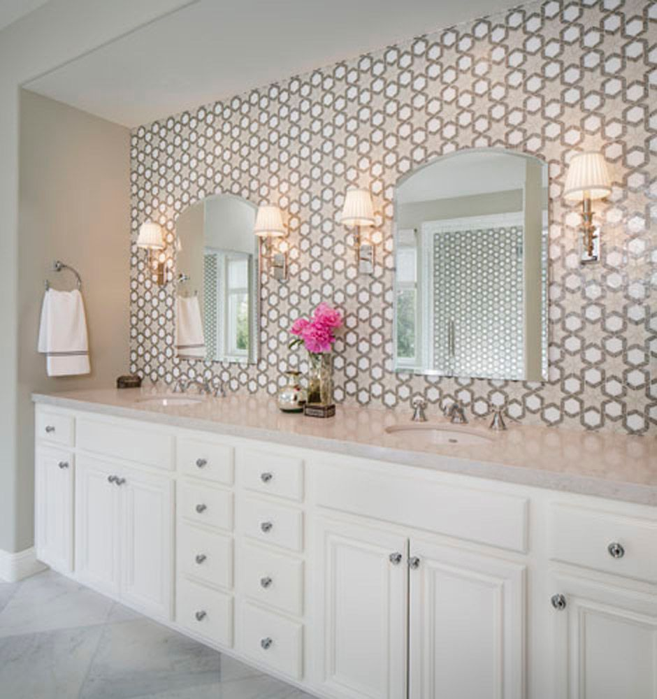 Patterned Tile Backsplash Behind Vanity Cabinet And Mirrors In Bathroom Glass Tile Bathroom Bathrooms Remodel Modern Bathroom Tile
