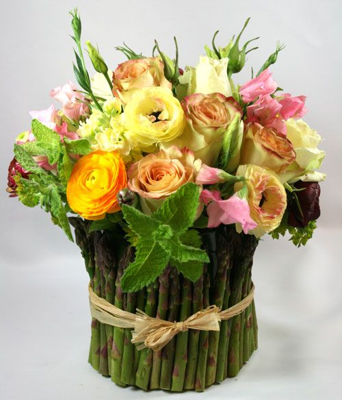 Great Idea For Asparagus Specially For Those Who Don T Like To Eat It Flower Arrangements Giant Flowers Flowers