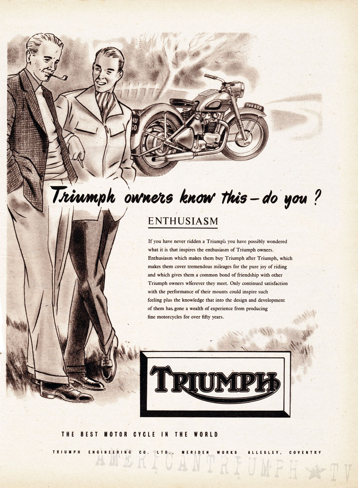 Vintage Triumph 1951 Motorcycle Motorbike Advertising Poster Art Repro Print A4